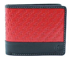 STARHIDE Mens Genuine Emboosed Leather RFID Blocking Wallet Billfold Coin Pocket Purse 1170 Red Black - Starhide