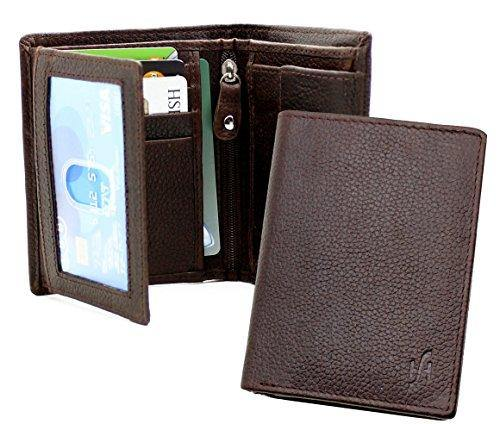 STARHIDE Passcase Genuine Leather Handmade Wallet for Men Bifold Style Coin Wallet with 2 ID Holder 1105 Brown