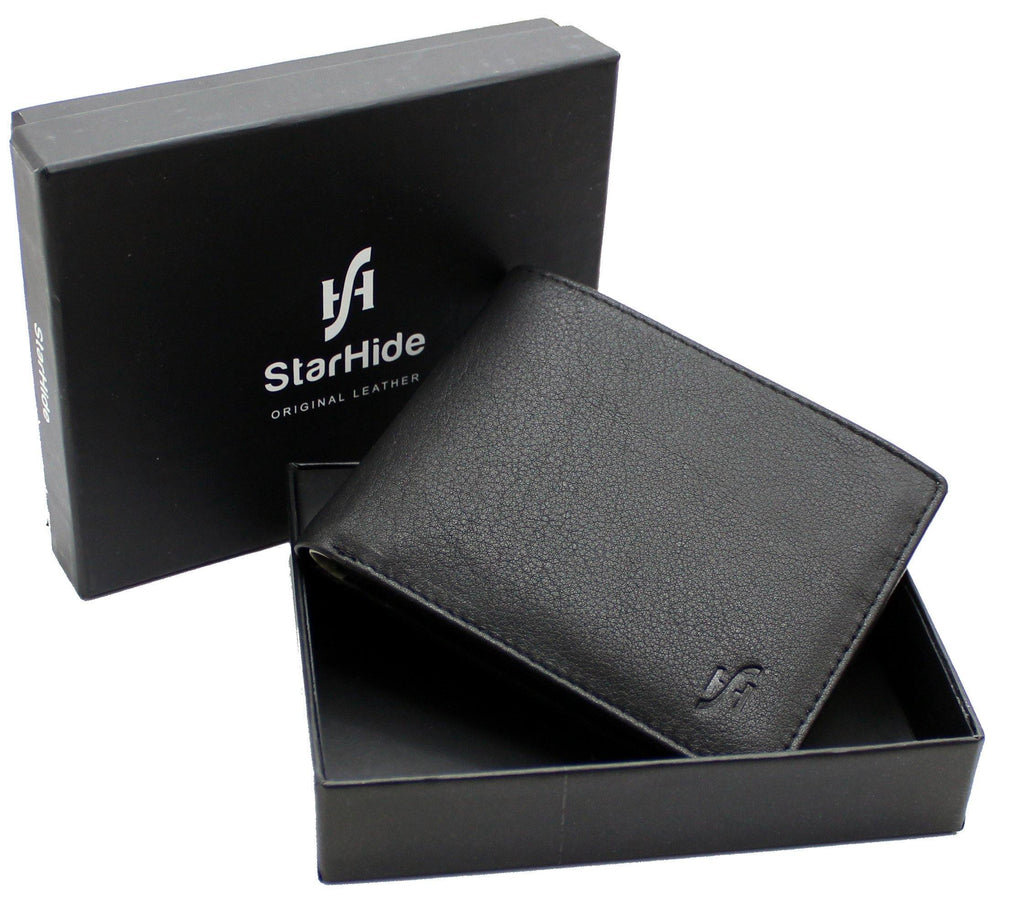 Mens RFID Blocking Small Bifold Leather Wallet for Cards Cash and Coins 1050 Black Grey - StarHide