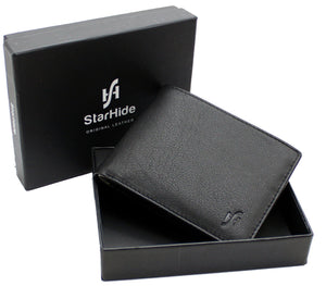 STARHIDE Mens RFID Blocking Small Bifold Leather Wallet for Cards Cash and Coins 1050 Black Grey