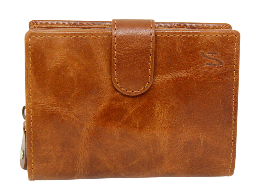 STARHIDE Ladies Genuine Leather Clutch Wallet with Side Zipped Coin Pouch 5525 - StarHide