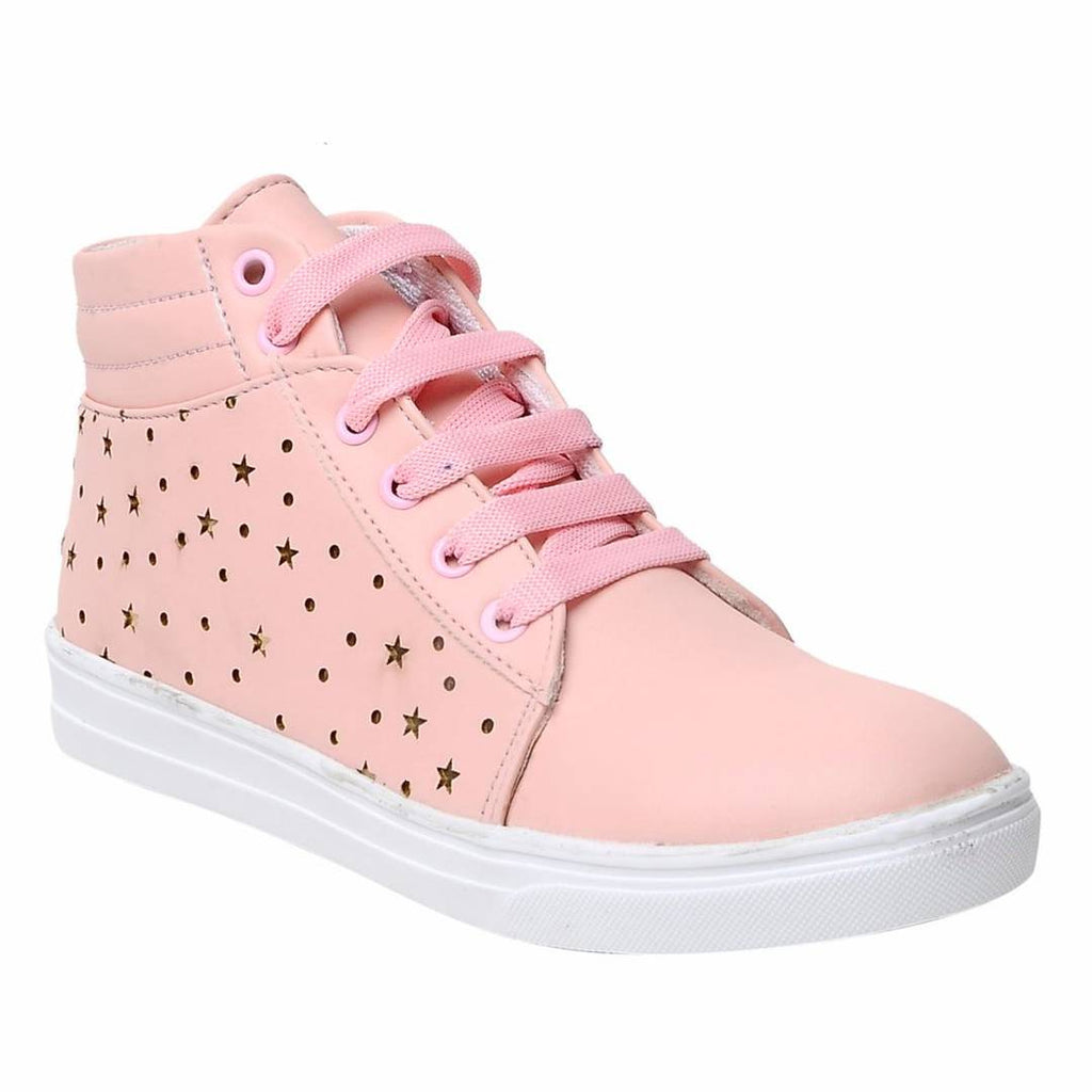 Casual Pink Comfortable & Fashionable Mid Ankle Sneakers Shoes for Women and Girls