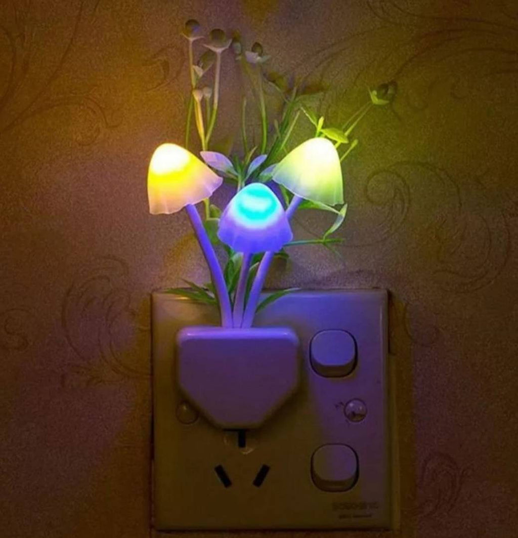 Fancy mushroom shape with flower Automatic Sensor LED color changing night lamp multi (Pack of 1)