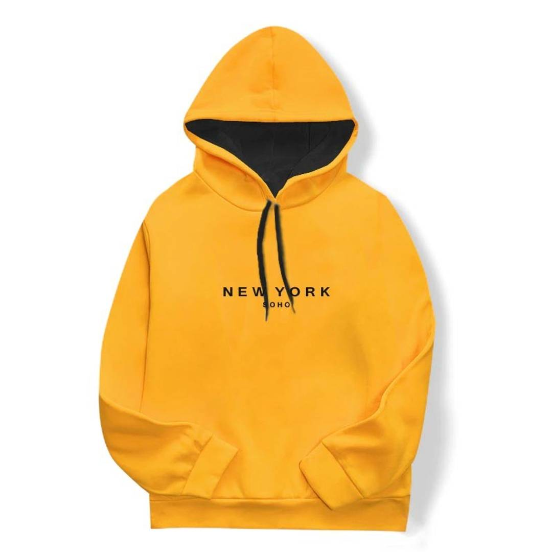 Men's Yellow Cotton Printed  Long Sleeves Hoodies