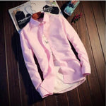 Men's Pink Cotton Solid Long Sleeves Regular Fit Casual Shirt
