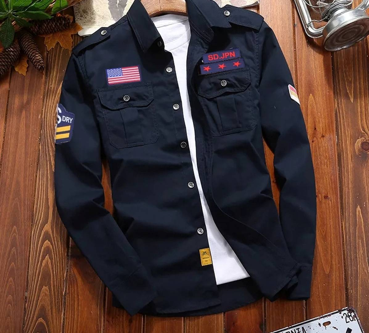 Fashionable Navy Blue Cargo Full Sleeves Shirt For Men (Only Shirt)