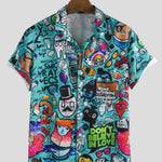Men's Multicoloured Printed Polycotton Short Sleeves Casual Shirts