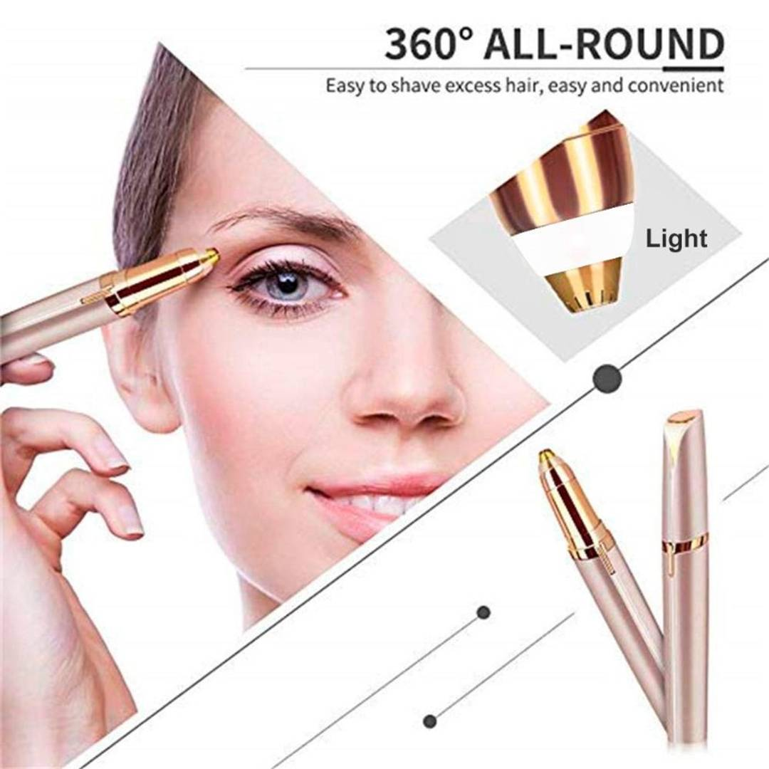 Flawless Women's Portable Safe USB Rechargeable Painless Electric Eyebrow Trimmer Facial Hair Remover