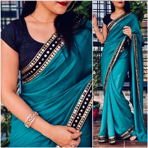 new vichitra silk fancy lace Border saree with blouse piece