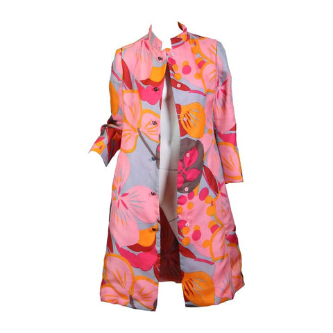 Vintage 1960's Mod Multi-Colored Floral Coat with Crystal Buttons by Bill Blass