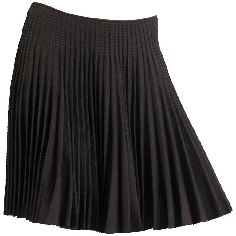 1990S Azzedine Alaia Chocolate Brown & Black Rayon Blend Knit Ra-Ra Skirt