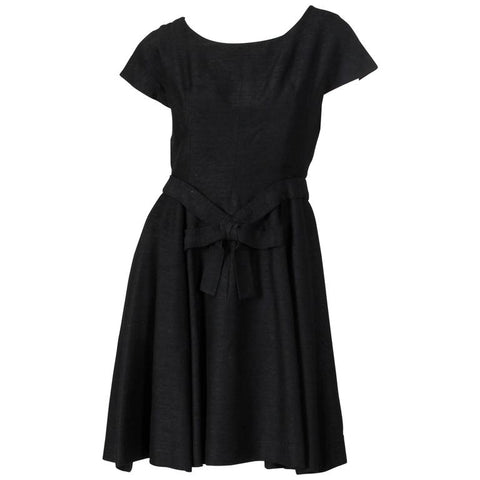 Stunning Vintage 1950's Christian Dior Simple Black Crepe Wool Dress