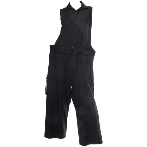 1990S Yohji Yamamoto Black Cotton Unisex Oversized Jumpsuit With Lacing Up Sides
