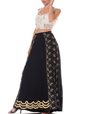 1890S  Black Victorian Cotton Sateen Skirt With Lace Style Embroidery