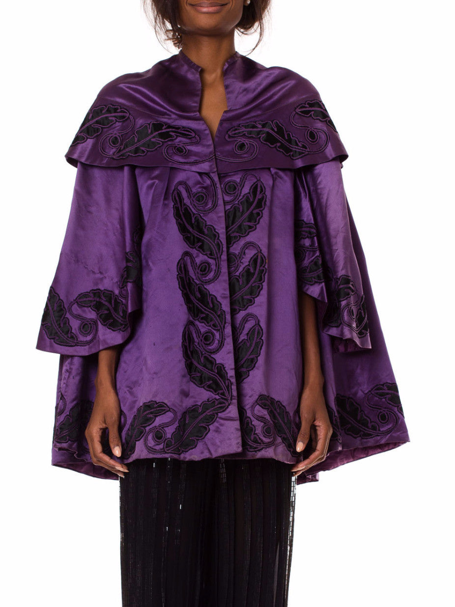 Victorian Silk Satin Coat with Quilted Lining