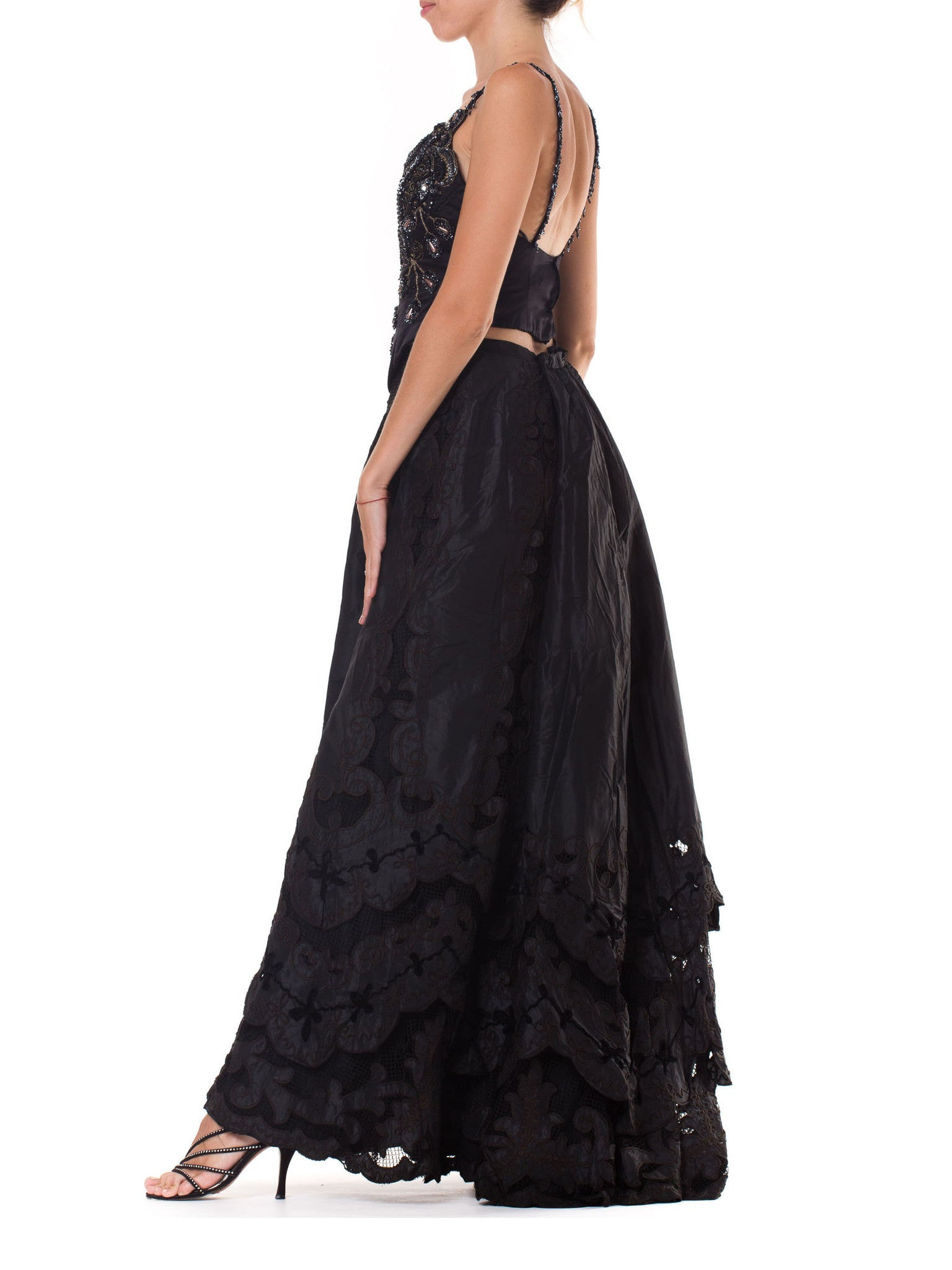 1800S Black Victorian Silk & Lace Tiered Skirt With Appliqués