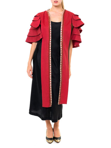 Noble Crimson Ruffled Cropped Robe With Long Front Sashes