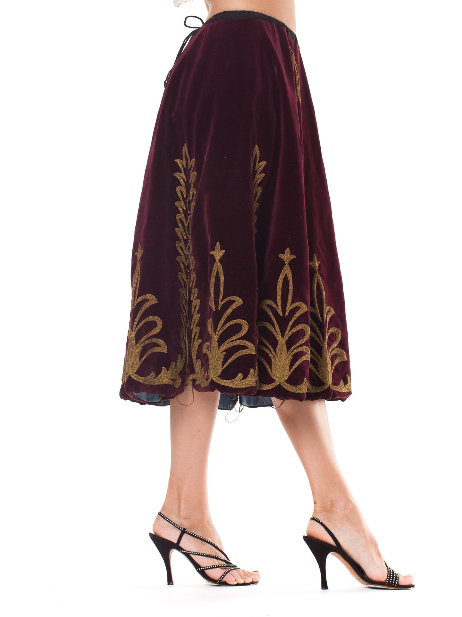 Victorian Cranberry Red Cotton Velvet Skirt With Gold Real Metal Embroidery