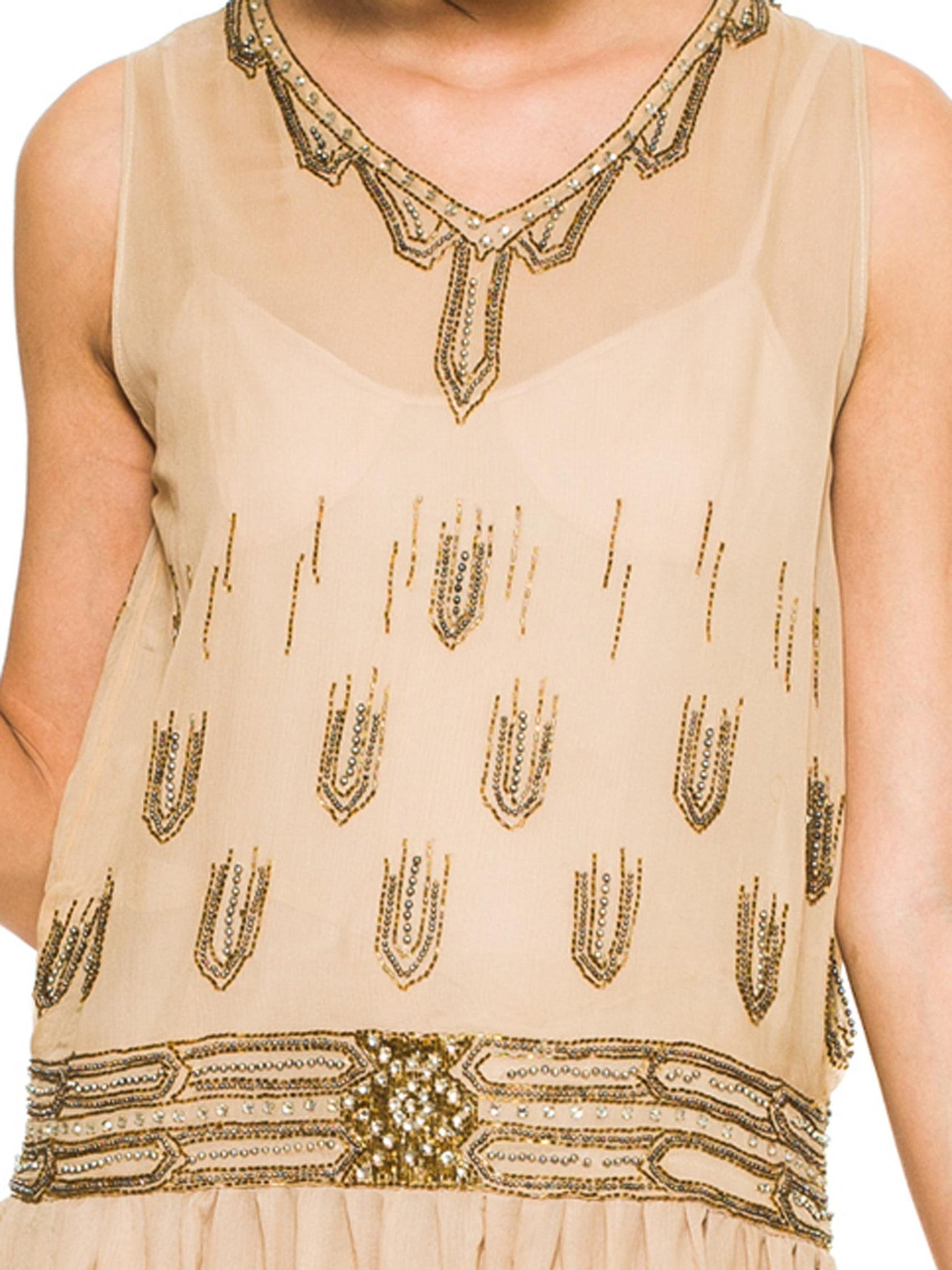 1920S Champagne Silk Chiffon Art Deco Gold Beaded & Crystalized Flapper Dress With Petal Hem