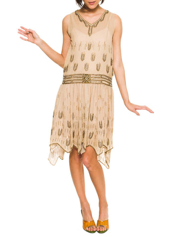 1920s Beaded Silk Flapper Dress