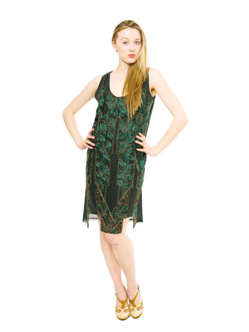 1920S Emerald Green Silk Chiffon Rose Embroidered & Gold Beaded Cocktail Dress