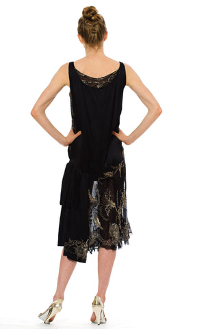1920S Black Silk Chiffon & Charmeuse Cocktail Dress With Floral Metallic Lame Embroidery Beading