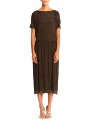 1920'S Olive Brown Silk Crepe Deco Medallion Beaded Cocktail Dress With Cold Shoulder