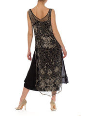 1920s Black Fully Beaded Flapper Silk  Dress