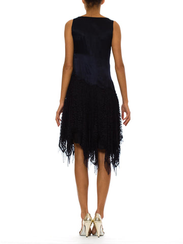 1920S Navy Blue Silk Charmeuse  & Lace Scalloped Dropped Waist Cocktail Dress With White Floral Beading