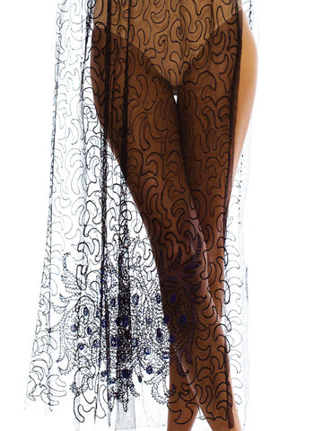 1920s Vintage Silk Black Bead Embroidered Dress
