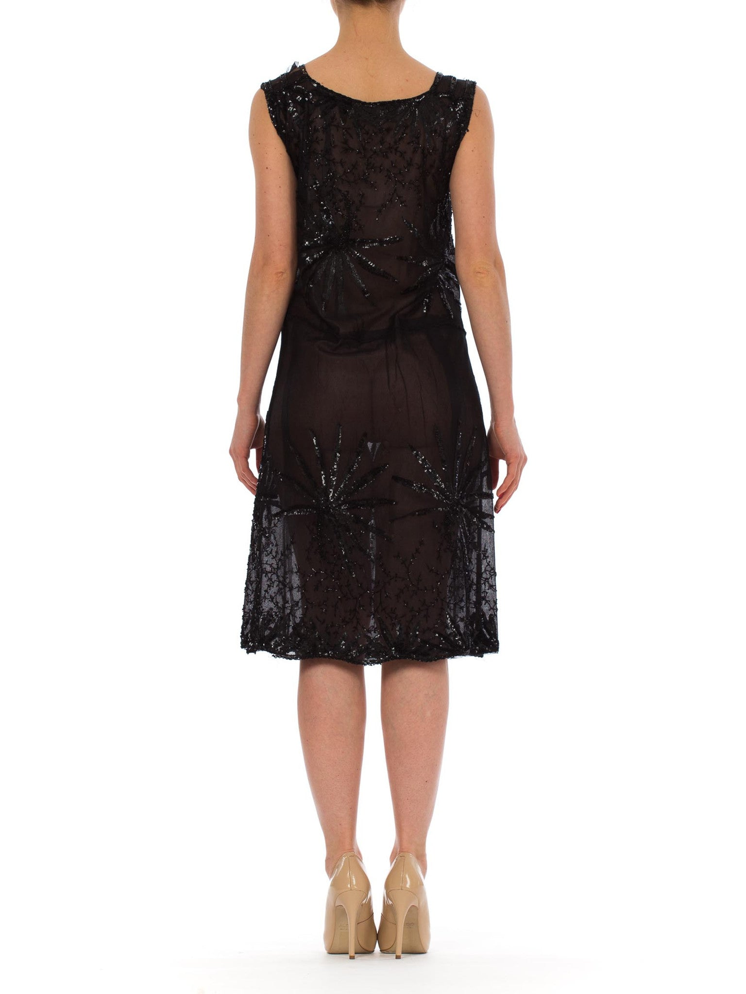 1920S Black Beaded Net Sheer Flapper Cocktail Dress With Large Sequined Flowers