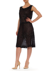 1920s Black Flapper Beaded Sequined Sleeveless Sheer Midi Dress