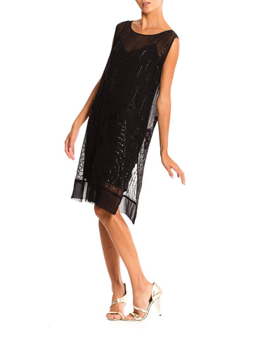 1920'S Black Silk Chiffon Sheer  Cocktail Dress With Floral Deco Sequins, Beads And Embroidery