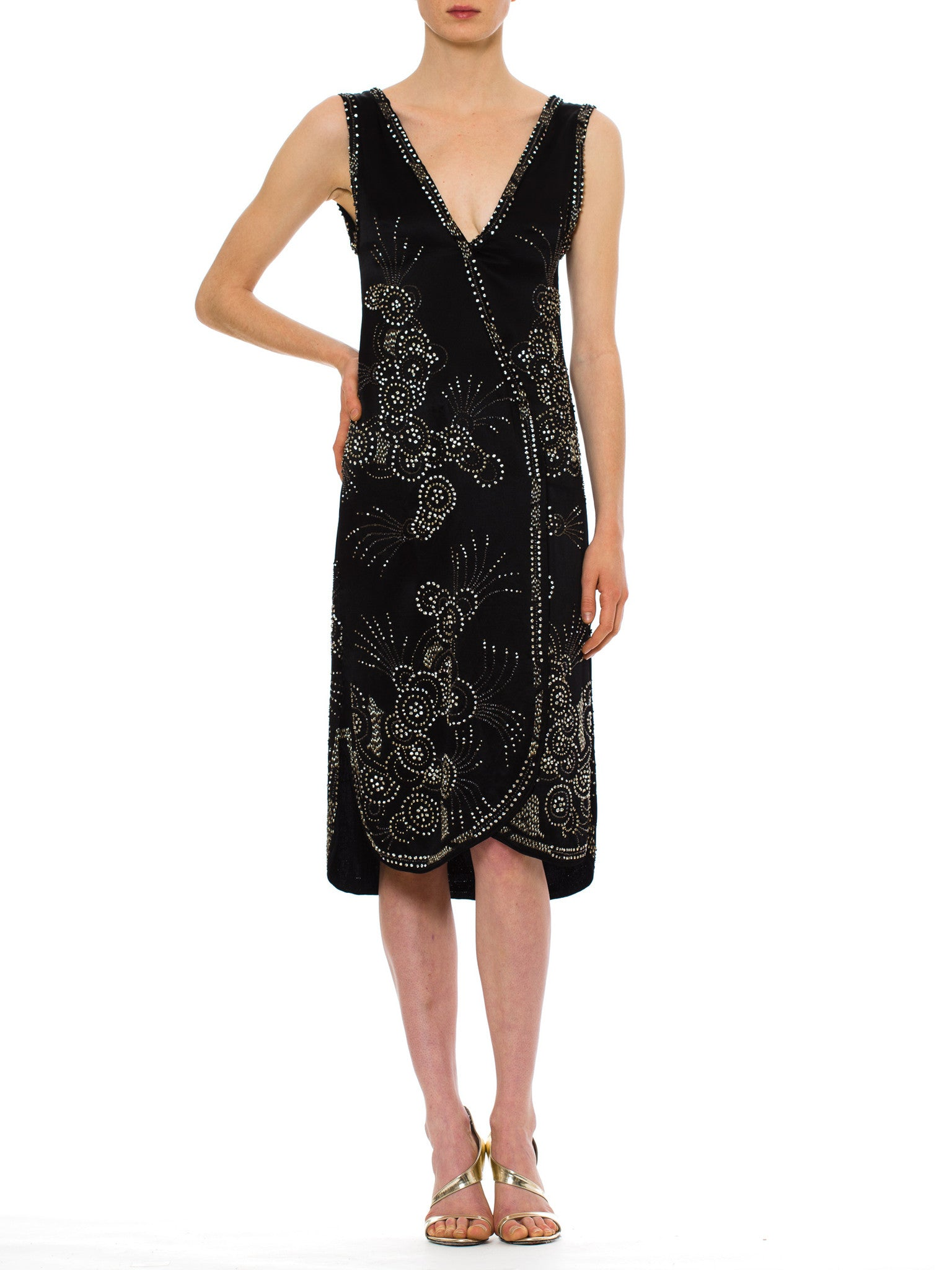 1920S Black Silk Satin Art Deco Crystal Beaded Cocktail Dress Can Be Worn Open As Well