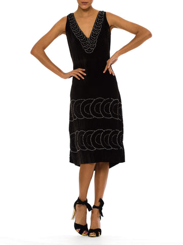 1920S Black Silk Velvet  Low Back Cocktail Dress With Deco Pearl & Rhinestone Beadwork
