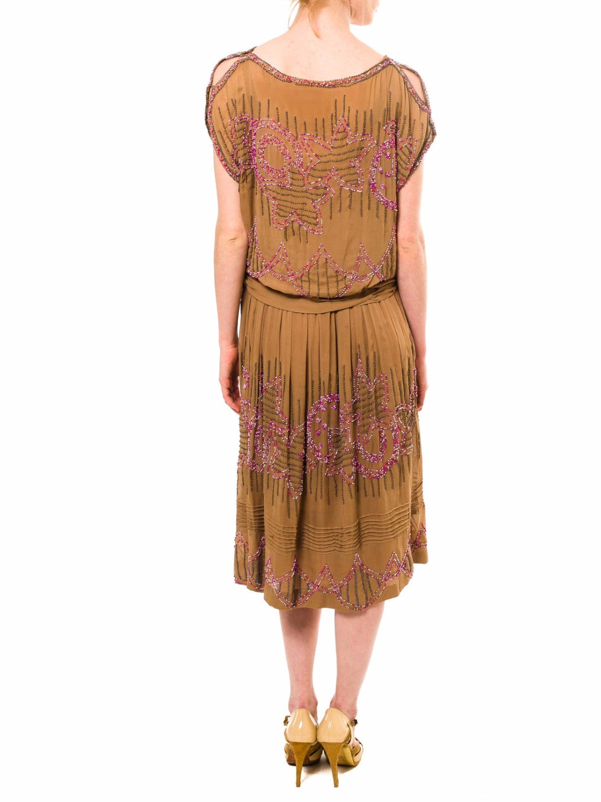 1920S Khaki Silk Cocktail Dress With Pink & Gold Beadwork