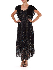 Edwardian Black Silk Net Floral Embroidered & Beaded  Gown With Ruffle Lace Collar
