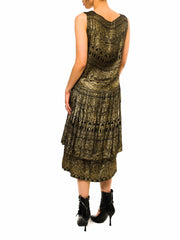 1920S Black & Gold Lamé  Egyptian Pattern Dropped Waist Cocktail Dress