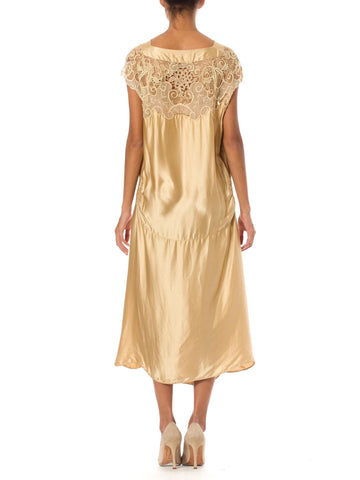 1920S CALLOT SOEURS Style Champagne White Silk Charmeuse & Hand Embroidered Cotton Net Voile Lace Cocktail Dress