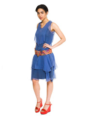 1920s Ingeniously Draped Cornflower Blue Chiffon Dress