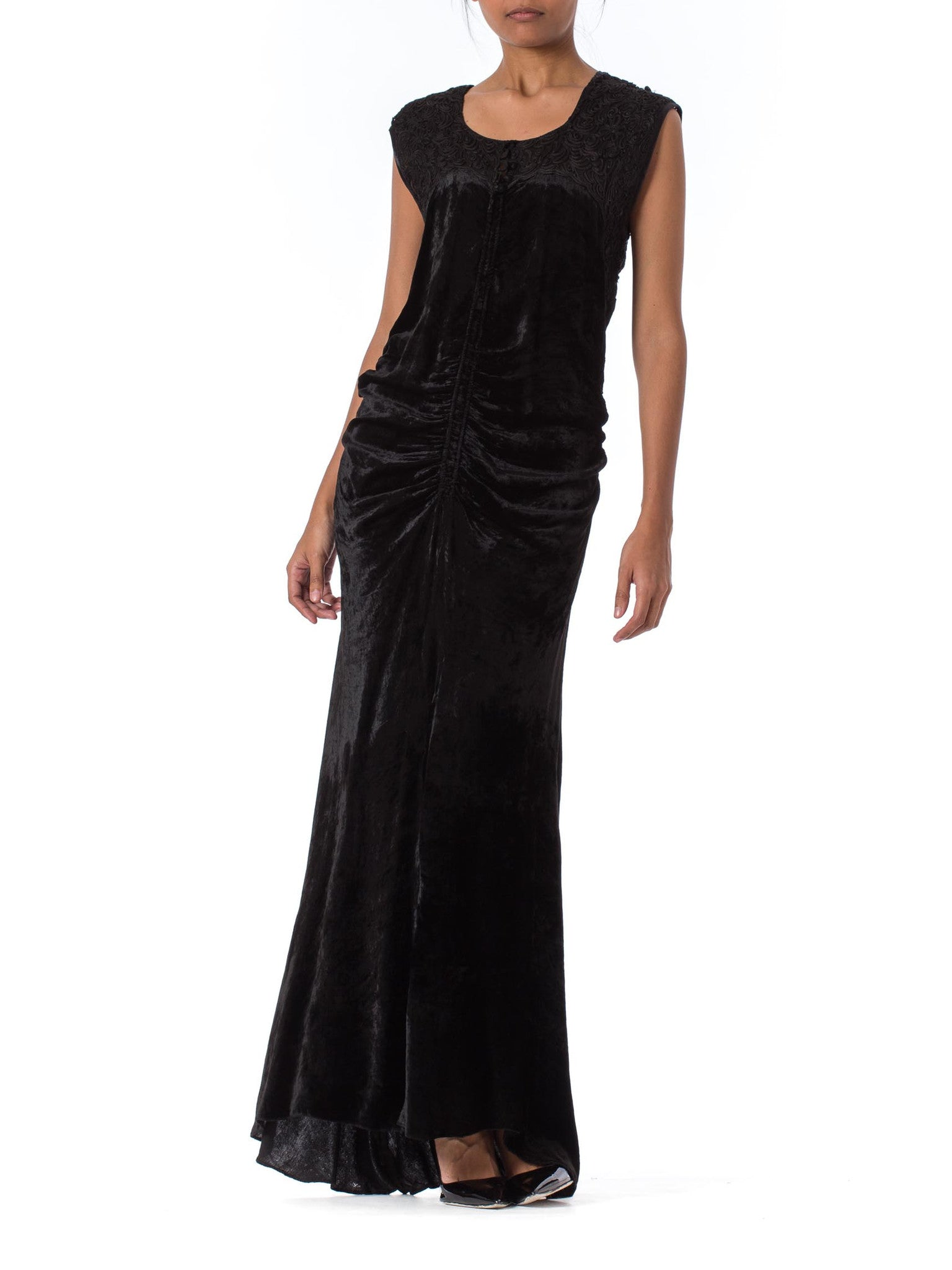 1930s Style Bias Cut Black Velvet and Lace Gown from 1990s