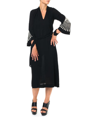 1930s Elegant and Proper Black Maxi Dress with a Subtle White-embroidered Element