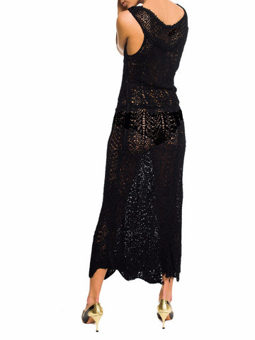 1930S Black Silk Hand Knit Dress With Hand-Painted Flowers