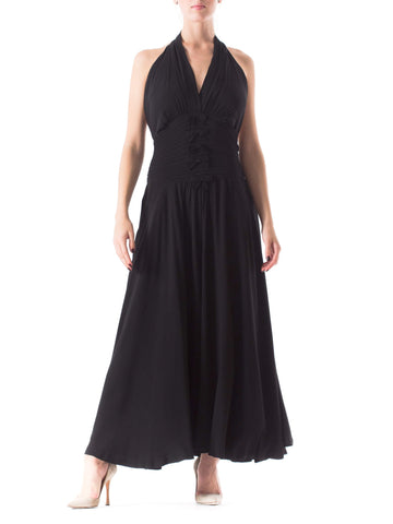 1930S Black Silk Crepe Back Satin Backless Halter Gown With Pintuck & Bow Details