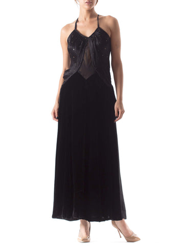 MORPHEW COLLECTION Black Backless Gown Made From Recycled 1930S Silk & Velvet
