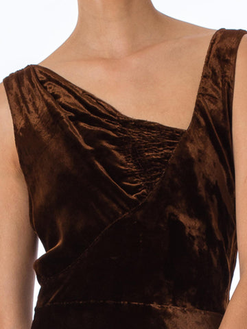 1930S HARRODS Chocolate Brown Asymmetrically Draped Bias Silk Velvet Gown