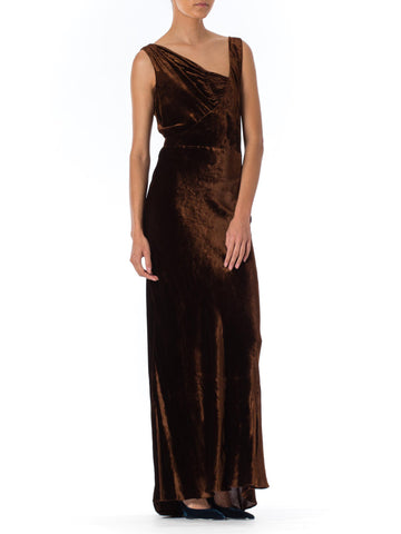 1930s Bias Cut Brown Velvet Gown