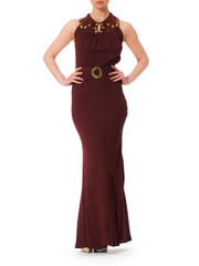 1930s Bias Cut Cut Out Back Evening Gown
