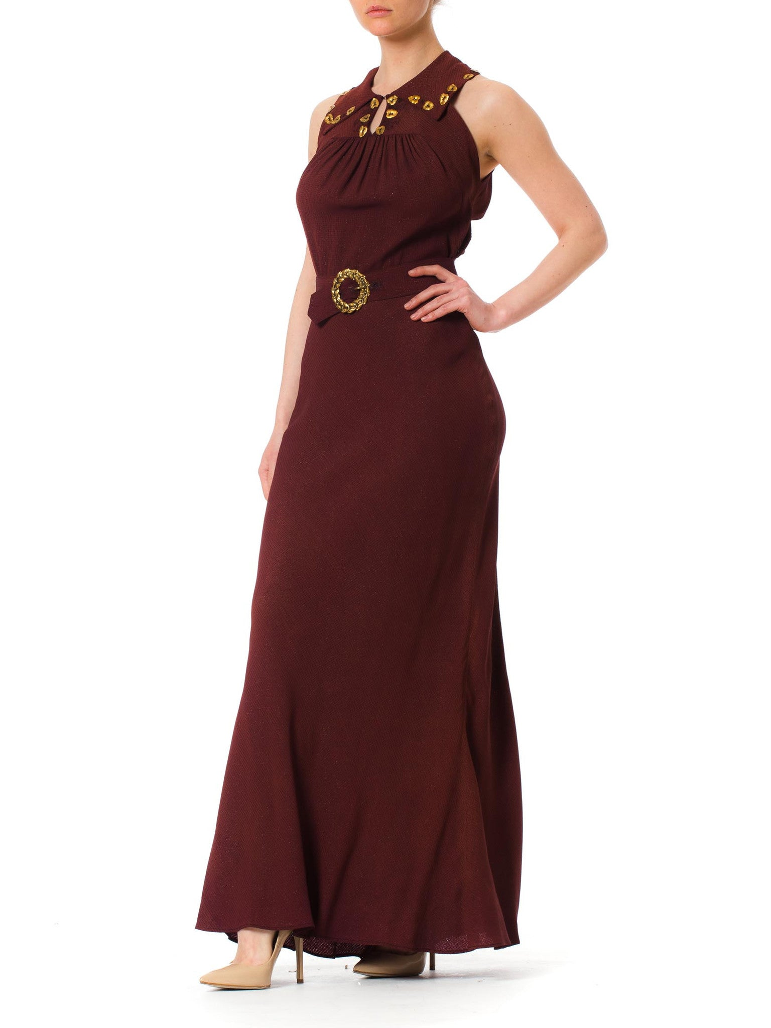 1930S Russet Brown Bias Cut Rayon & Lurex Crepe Gown With Schiaparelli Style Brass Leaves Belt