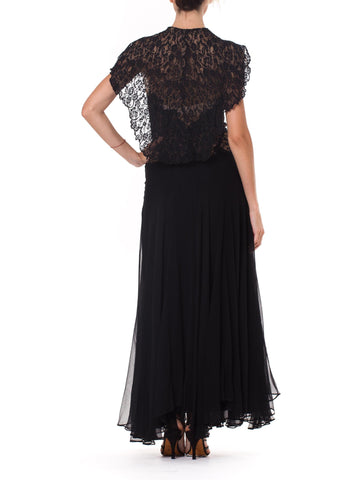 1930s Phenomenal Bias Cut Gown with Chantilly Lace Cape